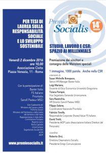Locandina evento Premio Socialis 2016