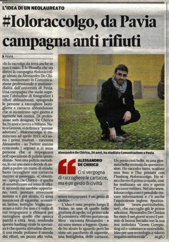 #ioloraccolgo, La Provincia Pavese 8 dicembre 2016